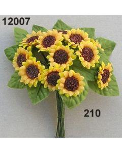 Sonnenblume mini mit Blatt / goldgelb / 12007.210