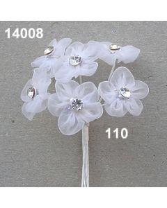 Organdy-Blüte mit Kristall / weiß / 14008.110