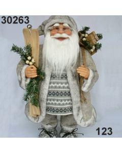 Weihnachtsmann groß stehend mit Ski  / grau / 30263.123