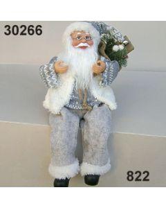 Weihnachtsmann sitzend mit Sack / hellgrau / 30266.822
