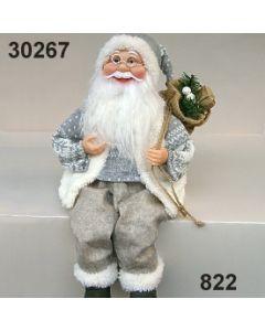 Weihnachtsmann sitzend mit Sack / hellgrau / 30267.822
