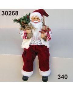 Weihnachtsmann sitzend mit Baum / rot-weiß / 30268.340