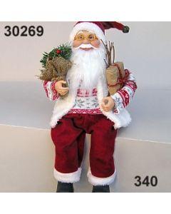 Weihnachtsmann sitzend mit Baum / rot-weiß / 30269.340