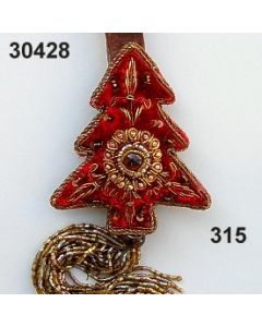 Bestickter Samt Baum mit Stein und Quaste / dunkelrot / 30428.315