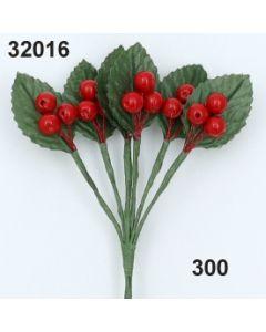 Beere x3 mit Blatt / rot / 32016.300