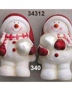 Keramik Schneemann mit Schneeball Set / rot-weiß / 34312.340