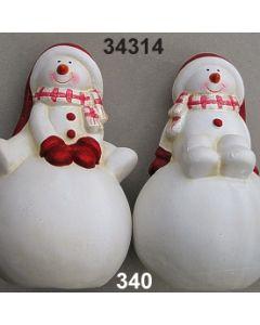 Keramik Schneemann auf Schneeball Set / rot-weiß / 34314.340