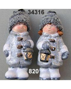 Keramik Winter-Kind stehend / grau / 34316.820