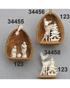 Nuß mit 2 Reh und Baum klein / creme / 34456.123