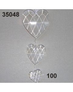 Acryl-Herzengehänge x3 / glasklar / 35048.100