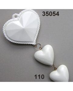 Acryl-Trachtenherz-Gehänge x3 / weiß / 35054.110