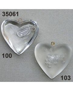 Acryl Herz mit Blasen Einschlüsse 4 cm / 35061