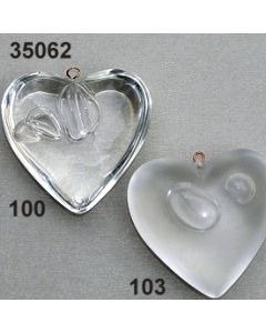 Acryl Herz mit Blasen Einschlüsse 4,5 cm / 35062