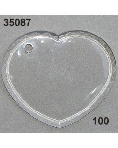 Acryl-Herz flach groß / glasklar / 35087.100