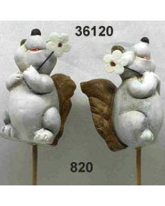 Keramik Eichhörnchen am Stab / grau / 36120.820