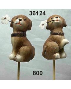 Keramik Hund am Stab Set 2 / braun / 36124.800