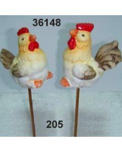 Keramik Gockel am Stab / hellgelb / 36148.205