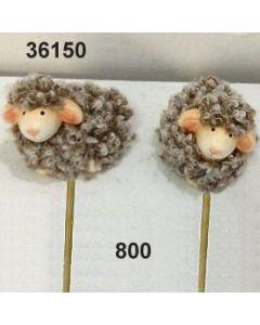 Keramik Woll-Schafe am Stab / braun / 36150.800