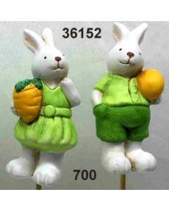 Keramik Hase am Stab / grün / 36152.700