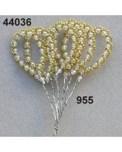 Bouillon-Perlschleife / gold-weiß / 44036.955