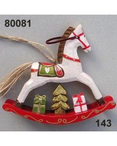 Holz Schaukelpferd bemalt / weiß-rot / 80081.143