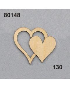 Holzherz doppelt flach / natur / 80148.130