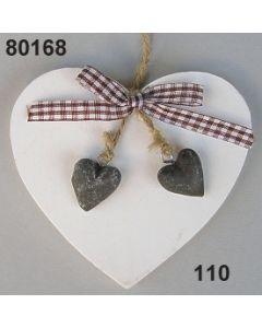 Holzherz mit 2 kleinen Herzen / weiß / 80168.110