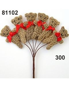 Jute -Teddy mini mit Masche / rot / 81102.300