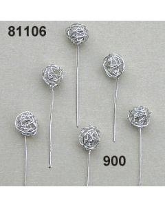 Silberdraht-Ball am Draht / silber / 81106.900