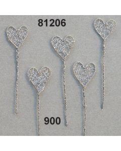 Silber Herz mit Bouillondraht mittel am Stiel / silber / 81206.900