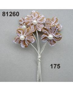Spitzen-Blüte mit Perle am Stiel  / natur-weiß / 81260.175