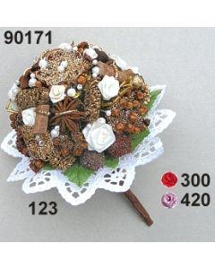 Bouquet Rose-Bouillon ø 10x7 cm mit Bouillonblume / 90171