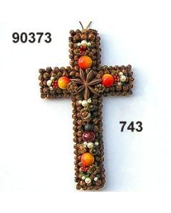 Gewürzornament Kreuz / grün-rot / 90373.743