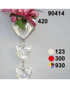 Acryl-Herzengehänge dekoriert  / 90414