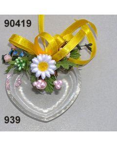 Acryl-Herz flach dekoriert / bunt / 90419.939