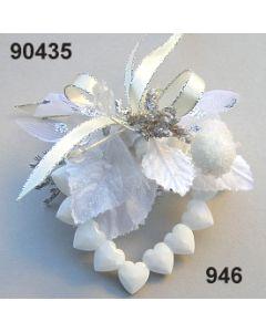 Acryl-Herz weiß dekoriert / silber-creme / 90435.946