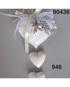 Acryl-Trachtenherz weiß x3 dekoriert / silber-creme / 90436.946