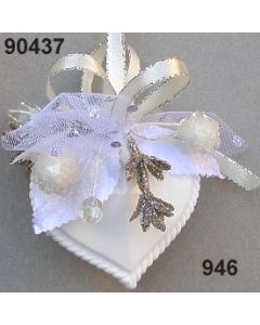 Acryl-Trachtenherz WEIß dekoriert / silber-creme / 90437.946