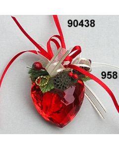 Acryl-Herz ROT Weihnachtlich / gold-rot / 90438.958