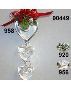 Acryl-Herzengehänge Weihnachtlich  x3 / 90449