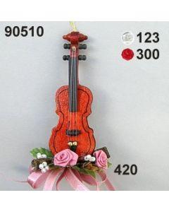 Holz-Geige dekoriert / 90510