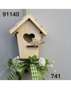 Holz-Vogelhaus dekoriert  / 91140