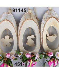 Holz-Motiv oval dekoriert / rosa-grün / 91145.451