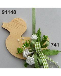 Holz-Ente dekoriert Karo / grün-creme / 91148.741