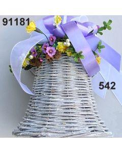 Glocke weiß Frühling groß dekoriert / lila-gelb / 91181.542