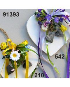 Holz-Herz Frühling dekoriert / 91393