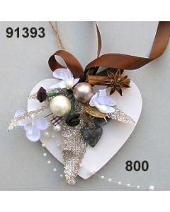 Holz-Herz Orchidee dekoriert / braun / 91393.800