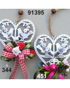 Metall-Herz Edelweiß dekoriert  / 91395
