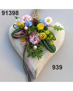 Holz-Herz groß Blüte dekoriert / bunt / 91398.939