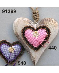 Holz-Nelken Herz groß dekoriert  / 91399